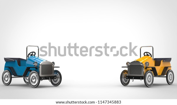 Blue and yellow vintage toy cars - 3D Illustration