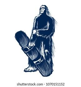 Blue yeti snowboarder