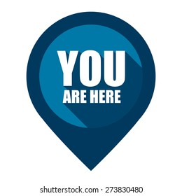 Blue You Are Here Map Pointer Icon Isolated on White Background