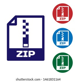 Blue ZIP file document icon. Download zip button icon isolated on white background. ZIP file symbol. Set color icon in circle buttons