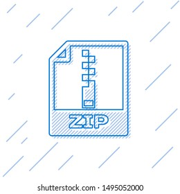 Blue ZIP file document icon. Download zip button line icon isolated on white background. ZIP file symbol