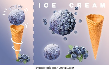 Blueberry ice cream. Scoops of blueberry ice cream with waffle cone and blueberry photography. 3D illustration for banners, landing pages and web pages with summer motifs