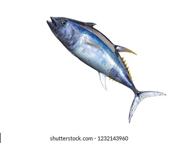 Bluefin tuna jumping 3d render isolated image