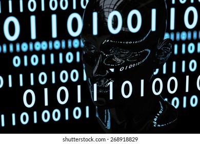 The blueish binary matrix codes reflect on the human head model which is made by chromatic material.  This is a concept image of computer mind or artificial intelligence in cyberspace.