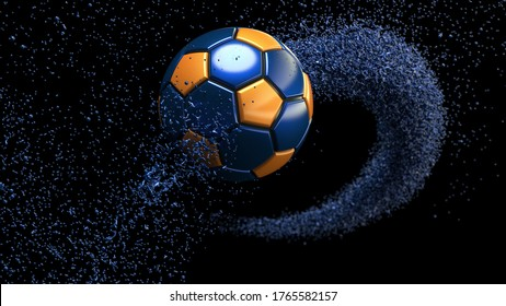 Blue-Orange Soccer ball with Blue Rotating Particles under Black Background. 3D sketch design and illustration. 3D high quality rendering.