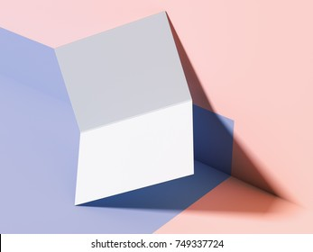 Blue-pink branding mockup with blank leaflet. 3d rendering
