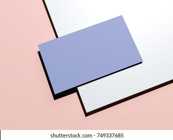 Blue-pink branding mockup with blank sheet of paper and business card. 3d rendering