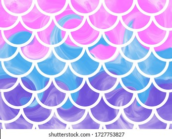 Blue-pink mermaid scales. Colorful fish tale. Underwater sea pattern. Illustration. Perfect for print design for textile, poster, greeting card, invitation.Mermaid kawaii pattern concept