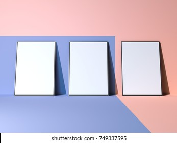 Blue-pink mockup with three blank posters. 3d rendering