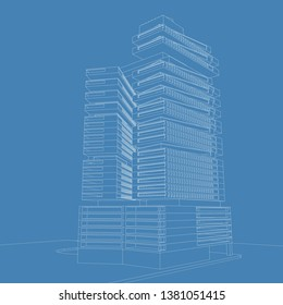 Blueprint architectural design, 3D illustration architecture building perspective lines, modern urban architecture abstract background design