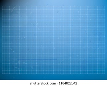blueprint - background with grids, scratches and blots for industrial drawings, outline and concept designs in architecture, industry or business