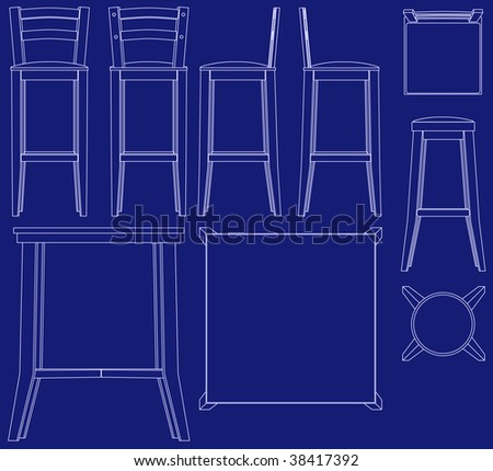 Blueprint Bar Furniture Illustrations Raster Stock Illustration