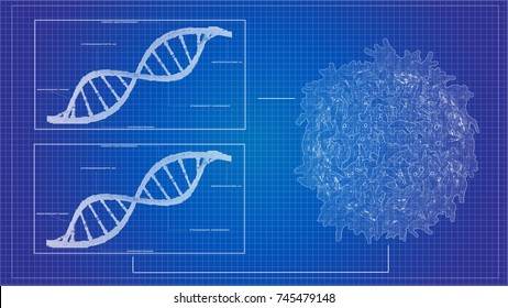 Blueprint concept of cancer cell lymphocyte T and DNA helix background sequencing data analysis