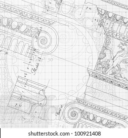 Blueprint hand draw sketch ionic architectural stock vector royalty blueprint hand draw sketch ionic architectural order based the five orders of architecture malvernweather Image collections