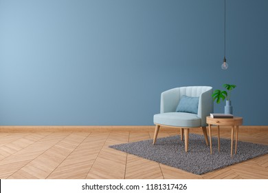 Blueprint home decor concept, blue armchair with wood table on Blue paint color wall and Hardwood Flooring at the home,interior design ,3d render