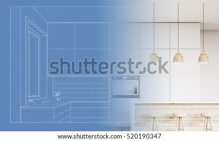 Royalty Free Stock Illustration Of Blueprint Kitchen Furniture Sink