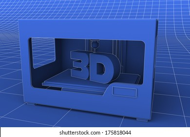 A blueprint like rendering of a modern desktop 3D printer