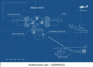 Blueprint of main rotor of helicopter in outline style. Industrial drawing of gearbox part. Detailed isolated image of craft propeller