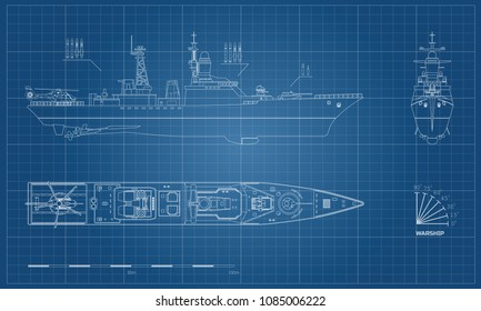 Blueprint of military ship. Top, front and side view. Battleship model. Industrial drawing. Warship in outline style
