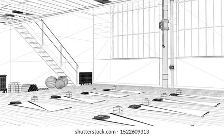 Blueprint project draft, empty yoga studio interior design, minimal industrial open space with staircase, mats and accessories, parquet floor and mezzanine, ready for yoga practice, 3d illustration