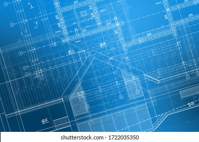 Blueprint Technical Drawing Of Newly Designed House