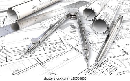 Blueprints and Drawings Rolls. Generic Architectural blueprints, drawings and sketches. Paper Rolls, Ruler, Pen and Divider of metal. 3D render.