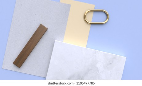 blue-purple-blue minimal geometric shape 3d rendering flay lay paper background