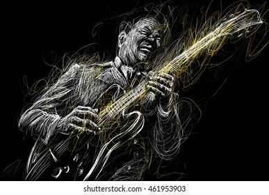 Blues  and Jazz musician with a guitar  guitarist guitar player