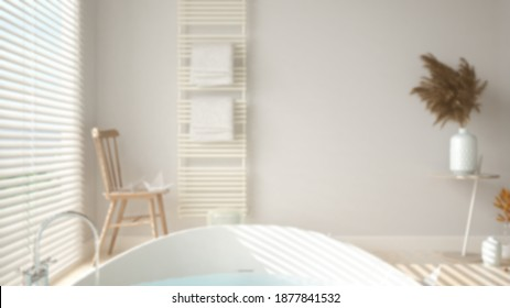 Blur background, cosy peaceful bathroom, round bathtub close-up, ceramic tiles floor, heated tower rail with towels, vintage chair, spa, hotel suite, modern interior design, 3d illustration