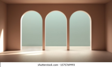Blur background interior design: classic metaphysics empty space with ceramic floor, archway with stucco walls, plaster, unusual architecture, arch project idea copy space, 3d illustration