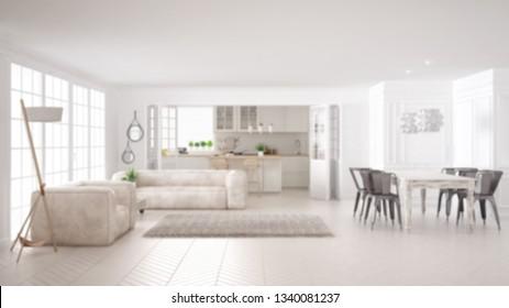 Blur background interior design, minimalist white living room and kitchen, big window and carpet fur, scandinavian classic interior design concept idea, 3d illustration
