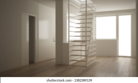 Blur background interior design, minimalist living room, kitchen and white modern staircase with wooden steps, parquet floor, concept, architect designer project, architecture idea, 3d illustration