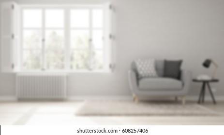 Blur background interior design, minimalist living room, simple white living with big window, scandinavian classic, 3d illustration