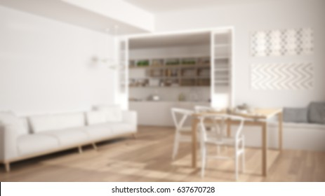 Blur background interior design, minimalist kitchen and living room with sofa, table and chairs, 3d illustration