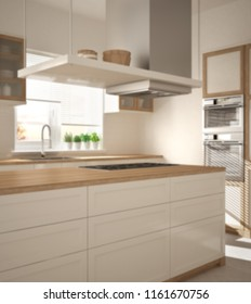 Blur background interior design, modern wooden and white kitchen with island, gas stove and sink, 3d illustration