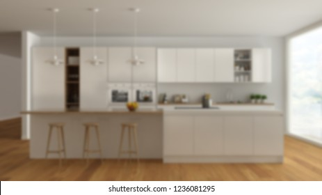 Blur background interior design, modern minimalist white and wooden kitchen with island and big panoramic window, parquet, pendant lamps, contemporary architecture, 3d illustration