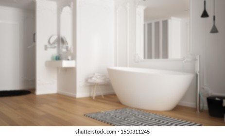 Blur background interior design: modern white bathroom in classic room with wall moldings, parquet floor, bathtub with carpet, minimalist sink and decors, pendant lamps, 3d illustration