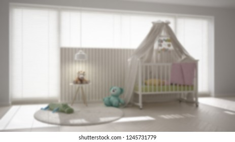 Blur background interior design, scandinavian nursery with canopy cradle, carpet, bedside table pendant lamp and toys, big window with venetian blinds, contemporary architecture, 3d illustration