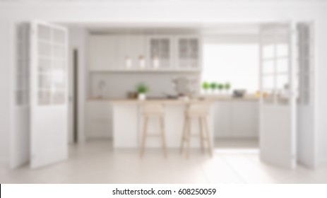 Blur background interior design, scandinavian minimalistic classic kitchen with wooden and white details, 3d illustration