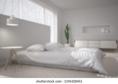 Blur background interior design, white minimalist bedroom, big window with venetian blinds, contemporary architecture, 3d illustration