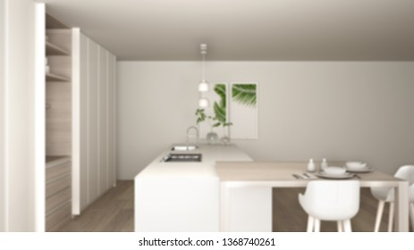 Blur background interior design, white minimalist kitchen in eco friendly apartment, island, table, stools and open cabinet with accessories, window, bamboo, hydroponic vases, parquet, 3d illustration