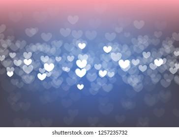 Blur bokeh Valentines day heart holiday background. Luxury gradient backdrop. llustration wedding frozen decoration. Festive Ishiny defocused wallpaper. Glowing blurred winter greeting sparkle.