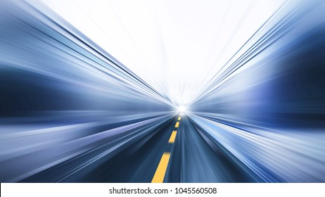 blur fast moving high speed road business perform concept
