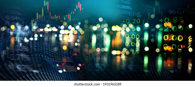 blur green blue city light and index number of stock market business abstract banner background