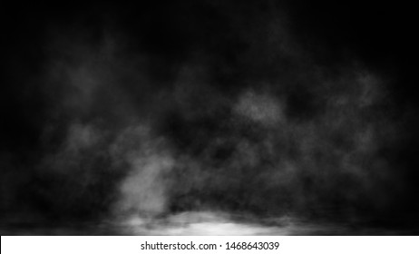 Blur smoke on isolated black backgroind. Mistery fog texture. Design element.