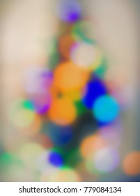 blurred background, festive lighting. Festive. Christmas. New Year. Retro style. Observation of the New Year tree.
