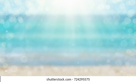 blurred beach glow bokeh background with sunlight