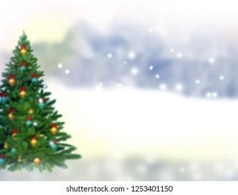 Blurred christmas tree,snow,christmas,background