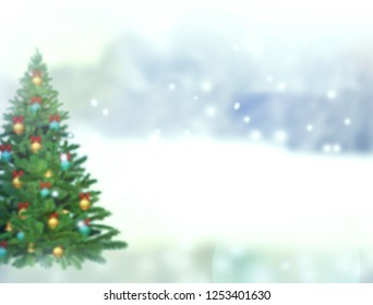 Blurred christmas tree,snow,christmas,background