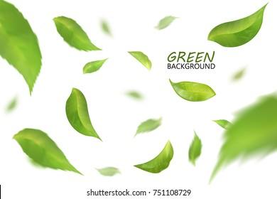 Blurred fresh flying green leaves, quality 3d imitation.
